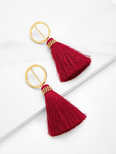 Two Tone Tassel Drop Earrings