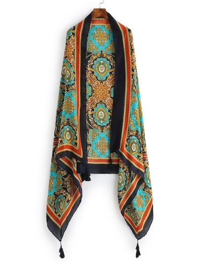 Graphic Print Tassel Detail Scarf