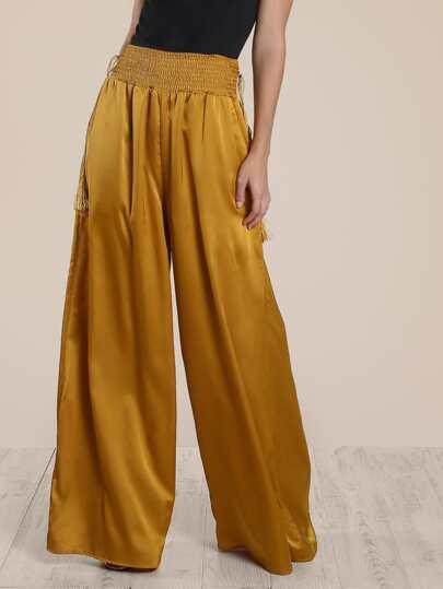 Pantalones de fruncido con pernera super ancha