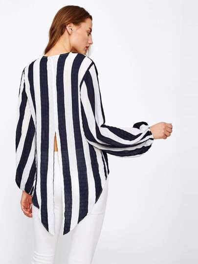 Contrast Striped Slit Back Dip Hem Blouse