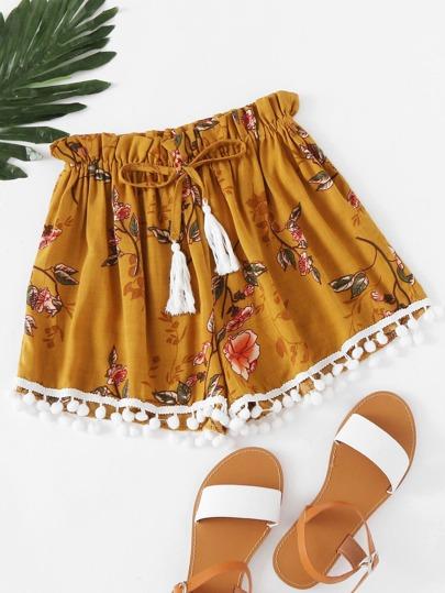 Shorts mit Blumenmuster,Kordelzug und Pompons um den Saum