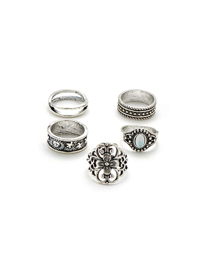 Hollow Flower Design Ring Set 5pcs