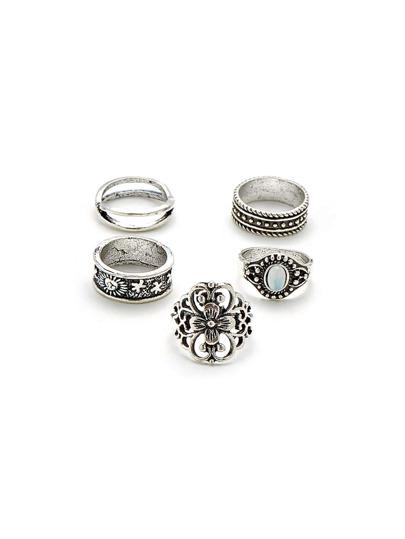 5 piezas de anillo con diseño de flor hueca