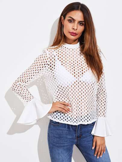 Bell Cuff Hollow Out Lace Top