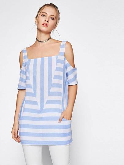 Cut And Sew Block Stripe Cold Shoulder Blouse