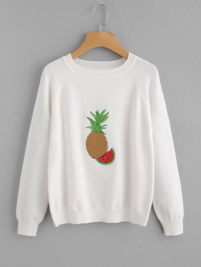 Pineapple & Watermelon Embroidered Raglan Sleeve Sweater