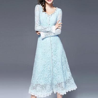 V Neck Flowers Applique Lace Dress