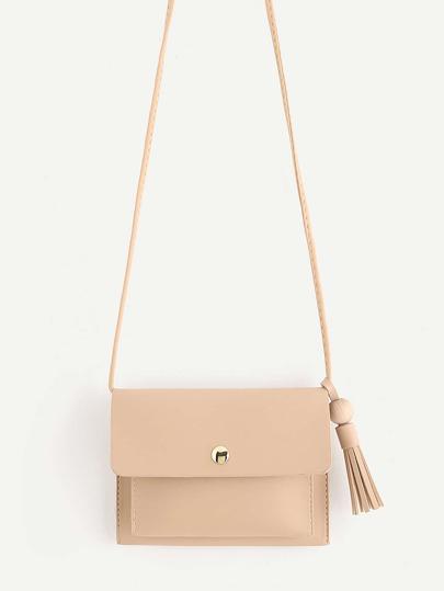 Tassel Detail PU Flap Cross Body Bag