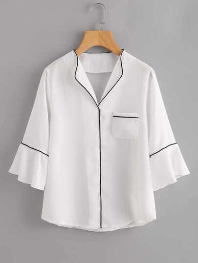 Contrast Binding Flute Sleeve Pajama Blouse