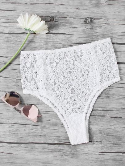 Culotte avec taille haute en dentelle floral