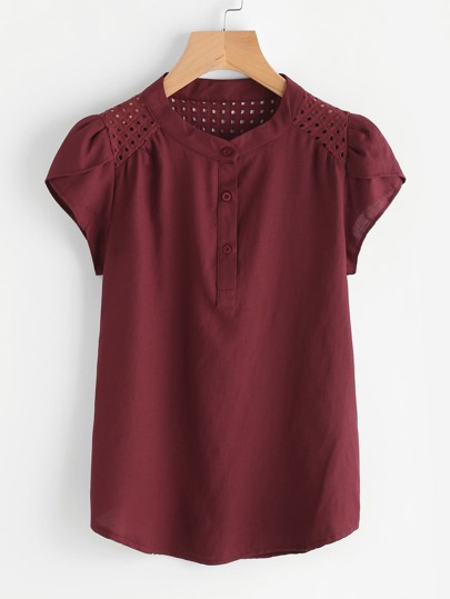 Eyelet Embroidered Panel Petal Sleeve Blouse