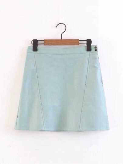 Falda de PU con cremallera al lado