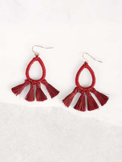Loop Tassel Earrings BURGUNDY