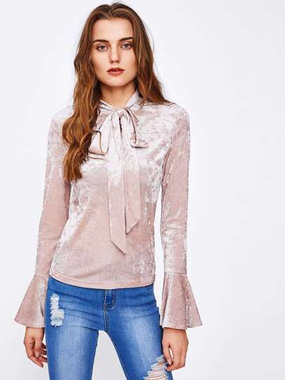 Bow Tied Neck Bell Sleeve Crushed Velvet Blouse
