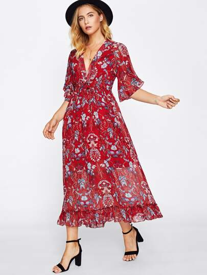 Deep V Neckline Botanical Print Frill Hem Dress