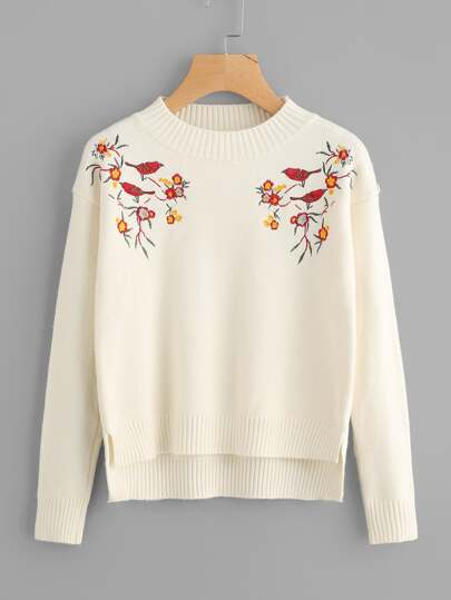 Symmetric Embroidered Slit Side High Low Sweater