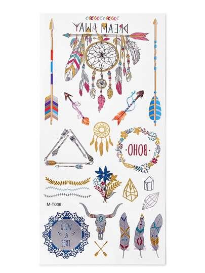 Dreamcatcher & Arrow Pattern Tattoo Sticker