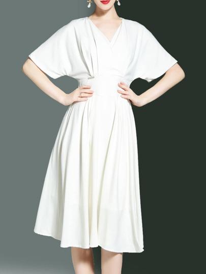 V Neck Batwing Sleeve A-Line Dress