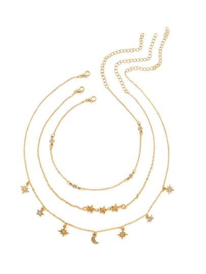Collier de chaîne design de la lune et de l\'étoile 3 pièces