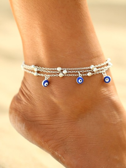Beads Detail Layered Chain Anklet