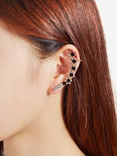 Rhinestone Flower Design Mismatch Earrings