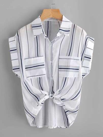 Knotted Hem Cuffed Striped Shirt