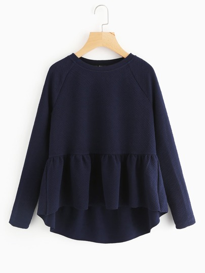Raglan Sleeve Textured High Low Smock Sweatshirt