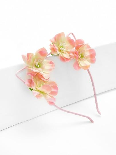 Diadema con oreja de gato con adorno de flor