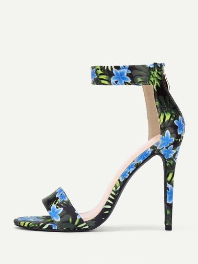 Sandales à talons hauts imprimées des fleurs