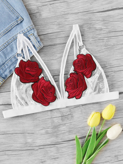 Dreiecke Bralette mit Rose Applikation