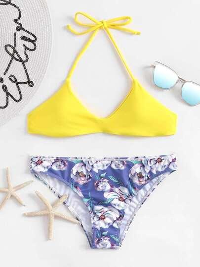 Calico Print Halter Bikini Set