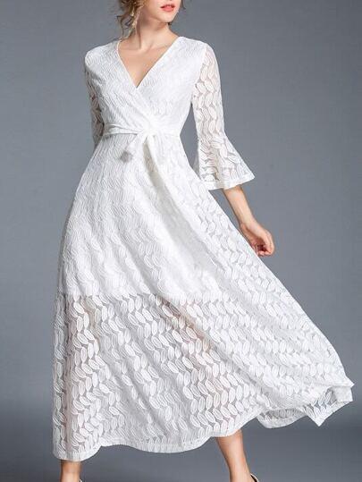 V Neck Leaves Crochet Lace Dress