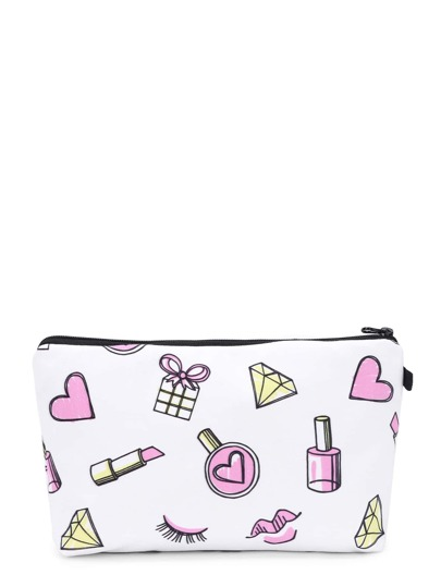 Lipstick & Heart Print Cosmetic Pouch