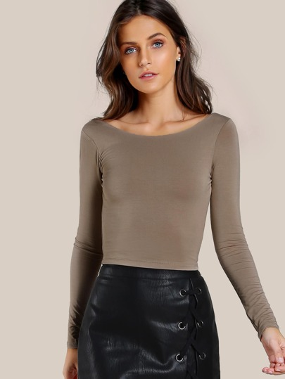 Long Sleeve Scoop Crop Top COCO