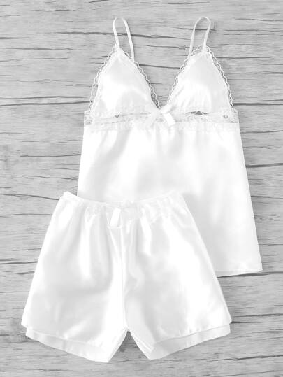 Lace Trim Bow Detail Satin Pajama Set