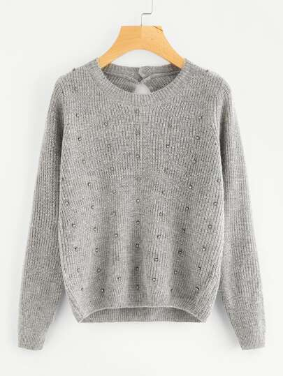 Beading Detail Buttoned Keyhole Back Sweater