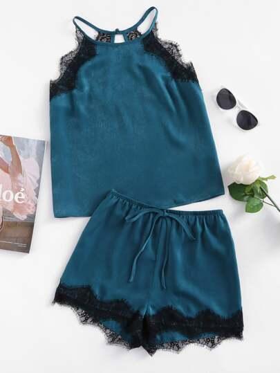 Lace Trim Keyhole Halter Top & Shorts Pajama Set