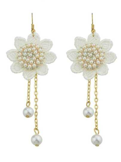White Pearl Lace Flower Fashion Earrings