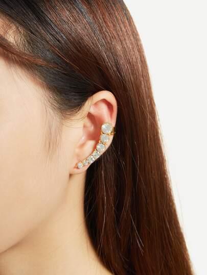 1 pieza de brazalete de oreja con adorno de pedrería en dos tonos