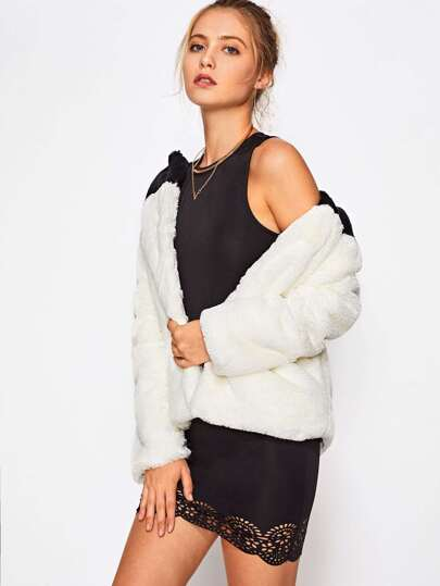 Due Tono Faux Fur Open Front Cappotto
