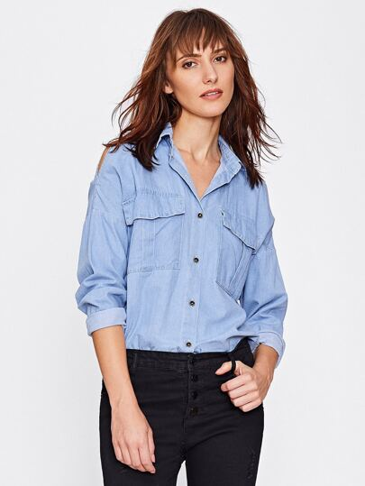Drop Shoulder High Low Denim Shirt
