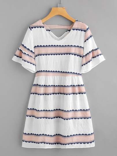 Contrast Print Double V Fluted Sleeve Dress