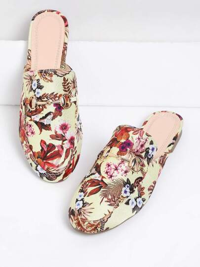 Flower Print Flat Mules