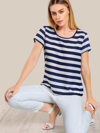 Striped Chiffon T-Shirt NAVY