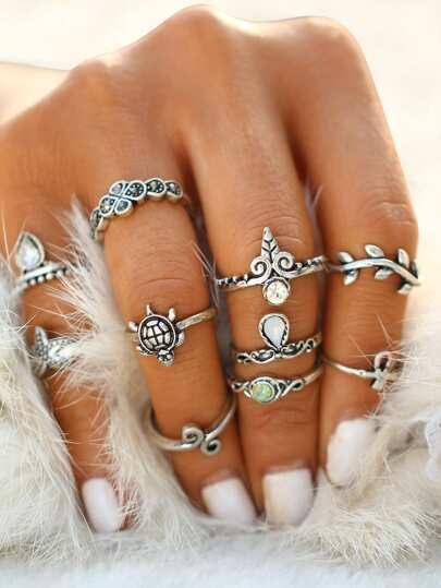 Starfish And Tortoise Design Ring Set 10pcs