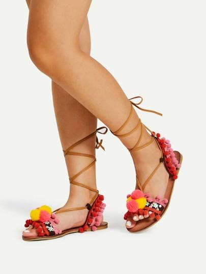 Pom Pom Detail Tie Leg Flat Sandals