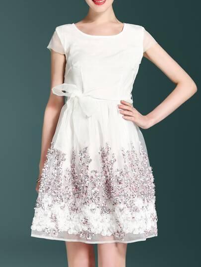 Disc Flowers Cap Sleeve Dress