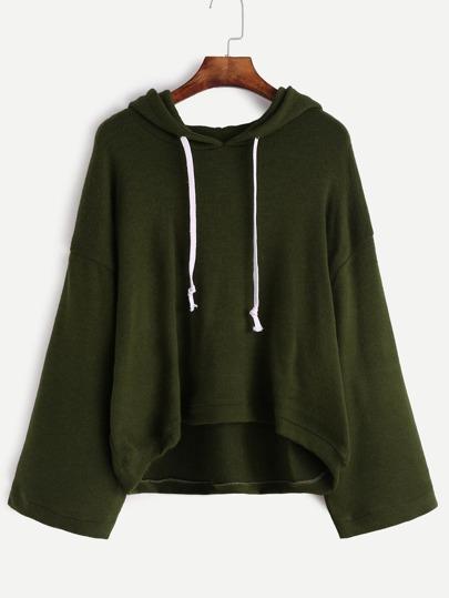 Jersey con hombro caído y capucha - verde oscuro