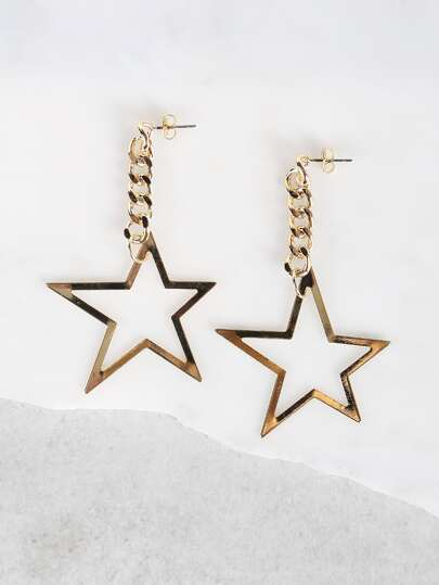 Star Chain Link Earrings GOLD
