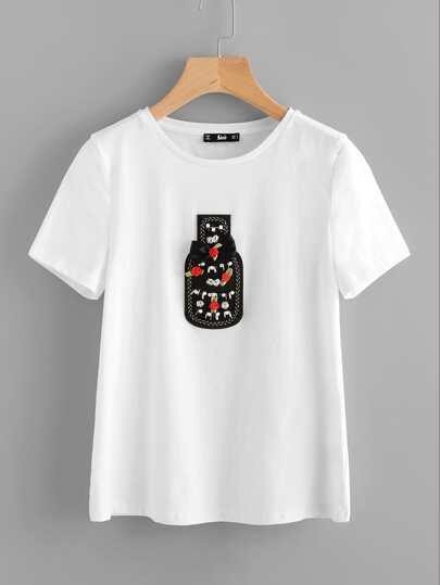 Lovely Bottle Applique T-shirt